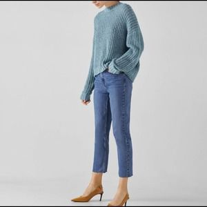 Bershka High Rise Straight Crop Jeans